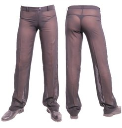 pantaloni lunghi trasparenti Sconti Uomini sexy pantaloni trasparenti chiffon lungo prospettiva ultra-sottile casual elegante estate nero bianco
