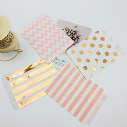 2019 scatola di cioccolato all'ingrosso bianco 100pcs 5 x 7 Inch Kraft Paper Bags Foil Rose Gold Colorful Orange Teal Black Pink Polka Dots Stripes Chevron Candy Buffet Bag
