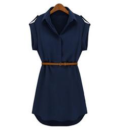 vestido corto de gasa casual Rebajas Vestido de manga corta para mujer Vestido de manga corta Moda Casual Vestido de gasa Vestido de calle Marca de verano Con Cinturón Vestidos