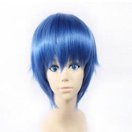 Pelucas de pelo azul rubio online-WIG Anime Man Mystery Of Devi Short Blonde Hair Cosplay Anti-Alice Full Wig Blue