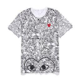 оптовые женские черные рубашки Скидка Любовник COM оптом Новый высокое качество Новый горячий ПРАЗДНИК Сердце Emoji Японский Белый Черный Горошек Сердце Белая Футболка Мужская Женская