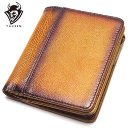 2019 borse importate Dip Dye RFID Blocking Imported Top Layer Leather Brushed Wallet Portafoglio retrò fatto a mano Portamonete in vera pelle borse importate economici
