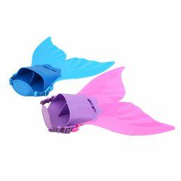Costumi sirena bambino online-Bambini nuotabili coda di sirena nuotata con pinne monopinna vera nuotata coda di sirena pinna nuoto puntelli costume per bambini