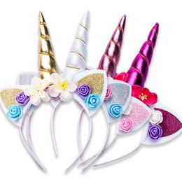 accessori per capelli rosa Sconti Vendita calda Cute Flower Unicorn Accessori per capelli Ragazze Baby Hairband Hairband per capelli per Cosplay Regali per feste di compleanno