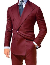 Deutschland Klassischer Stil Zweireiher Burgunder Bräutigam Smoking Peak Revers Groomsmen Männer Blazer Anzüge (Jacke + Hose + Krawatte) NO: 489 cheap burgundy pants men style Versorgung
