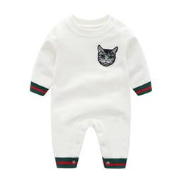 giraffenknöpfe Rabatt Infant Baby Warm Strampler Mode Niedlichen Katze Kopf Overall für Neugeborene Herbst Winter Baumwolle Baby Kinder Strampler