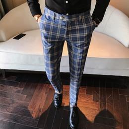 calças casuais xadrez para homens Desconto Mens moda 2019 homens vestido calça xadrez negócios casuais Slim Fit Homme clássico Vintage Check Suit calças de casamento calças