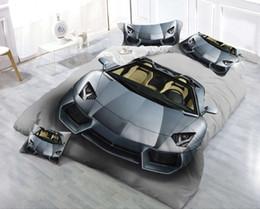 Ropa de cama queen online-Nuevo diseño Juego de cama en 3D Coche Impreso Ropa de cama Colcha Ropa de cama Juego de funda nórdica Queen King 4PCS