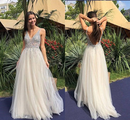 b3f727eaf9c11f Bling Crystal Top Prom Dresses 2019 V neck Open Back Beaded Sequin Tulle A  line Pleated Long Evening Formal Dress For Women Girl sequin tops for plus  size ...