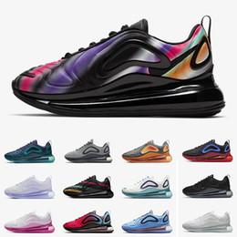 Zapatillas flash online-Nike Air Max 720 Nuevos zapatos para correr Air Blue Void Metallic Silver Triple Black White Hombres Mujeres Zapatos para correr University Flash White Spirit Wolf Grey 36-45 EUR