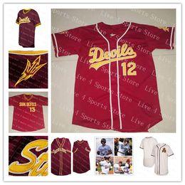 688096f1 Çince Özel erkek NCAA Arizona State Sun Devils Beyzbol Formalar Kırmızı  Beyaz Drew Swift Spencer Torkelson