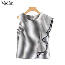 d704baa9 elegant blouse designs women 2019 - Vadim women elegant striped irregular  blouse sleeveless ruffles decorate back