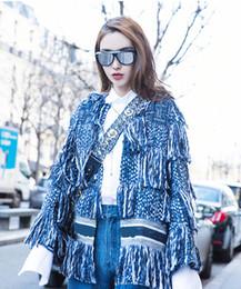 Ropa de ropa de tweed online-Diseñador de la pista de borlas azul Tweed chaqueta de la capa mujeres Fringe Mantme Femme Hiver 2018 manga larga de lana de invierno ropa de mujer