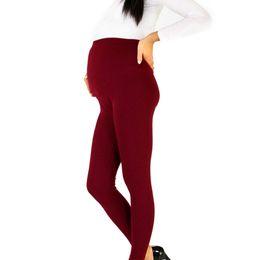Canada Solide Non-transparent Femmes Enceintes Respirant Serré Taille Haute Crayon Crayon Pantalon Boucle Réglable Confortable Pantalon De Maternité Offre