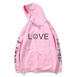 liebe rosa schwarzer hoodie Rabatt Lil Peep Hoodies Love Lil.peep Herren Sweatshirts Kapuzenpullover Herren Damen Schwarz Pink Hip Hop Streetwear Grau für Damen Hoddie