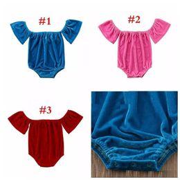 7668bdb2b312 Baby Girl Romper Baby designer onesie Toddler Solid Color off the shoulder jumpsuits  Newborn velvet clothing 3colors 4size