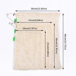3 pz sacchetti prodotti riutilizzabili per frutta verdura con coulisse in cotone maglia patata sacchetti di immagazzinaggio casa cucina organizzatore forniture k213 da