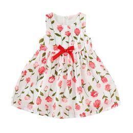 Kind mädchen gewebt kleider online-Baby Mädchen Sunmmer Kleid Kinder Floral bedruckte Plissee Rüschen Bogen ärmellose Reißverschluss Kleid Baby Mädchen Prinzessin knielangen gewebten Rock
