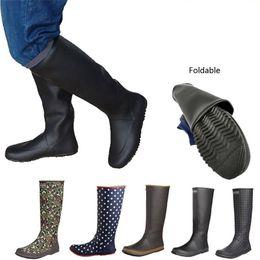 2019 резиновые сапоги Япония Стиль Мягкой мужской Женщина высокого дождь сапоги Складные резиновые Галоши черное поле Посадка обувь большого размер дешево резиновые сапоги