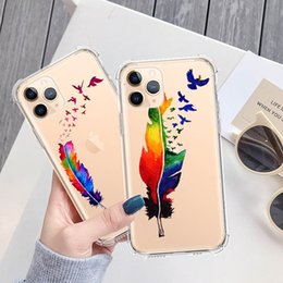 2020 design del case mobili per le ragazze Feather Butterfly Flower Cover Girl Feather Design Mobile Phone Cases Transparent TPU Cover For iPhone 7 8PLUS XR X MAX 11 design del case mobili per le ragazze economici