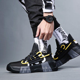 dança sapatos hip hop homens Desconto Moda Hip Hop Rua Sapatos de Dança dos homens Preto de Alta Top Chunky Tênis Outono Inverno Sapatos de Couro Casuais Meninos Zapatos Hombre