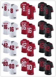 Футбольные майки joe montana онлайн-Сан-Франциско мужская женская молодежь 49ers 8 Стив Янг 16 Джо Монтана 42 Ронни Лотт 80 Джерри Райс красный белый черный пользовательские футбольные майки