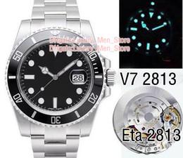 Relógio de mergulho eta cerâmica preta on-line-Luxo super natação versão v7 mens automático n2813 relógio preto verde moldura de cerâmica dial eta profissional de mergulho dos homens relógios de pulso