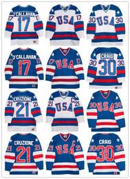 Хоккейные трикотажные изделия онлайн-Cheap Olympics Team USA 21 Майк Эрузионе # 30 Джим Крейг 17 Джек О'Каллахан Королевский Синий Белый Сшитые Ретро Мужские 1980 Хоккейные Трикотажные Изделия