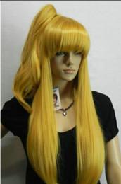Парик C42Hot термостойкие волосы для вечеринокКосплей Длинный светло-золотистый светлый парик-жара + один зажим на хвостик от