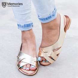 Women s Sandals 2019 Summer New Shoes Woman Open Toe Cross Knit Flat Sandals Plus Size 35 43 Ladies Slippers Zapatos De Mujer