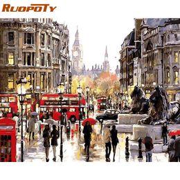 2019 marco de londres RUOPOTY Frame London Street DIY Pintura al óleo por número Paisaje Pintura al óleo pintada a mano Imagen moderna del arte de la pared para la decoración del hogar marco de londres baratos