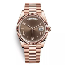 DAYDATE Yellow Rose Gold Watch Mens Women Watch Day-Date President Relojes automáticos Reloj de pulsera Roma Dial desde fabricantes
