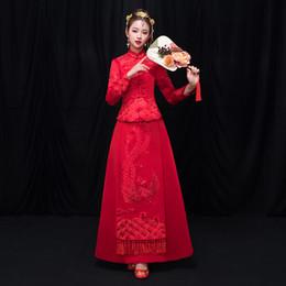 Красный Вышивка Феникс Невеста Qipao Традиционный Китайский Королевский Женщины Свадебное Платье Старинные Cheongsam Костюм Старинные Тост Одежда от