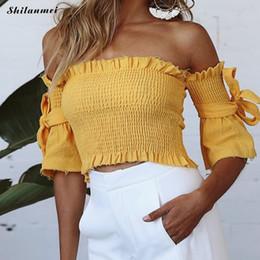 Ruffle Sexy senza spalline con spalle scoperte T-shirt Estate con maniche corte Beach T-Shirt Donna Giallo Rosso con maniche scoperte Club Streetwear Y19042801 da