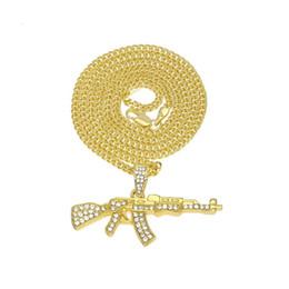 Canada Diamant Cristal Pistolet Collier Or Argent AK47 Pendentif Chaînes Bling Hip Hop Bijoux pour Hommes Femmes Cadeau De Mode Drop Shipping cheap ak47 jewelry Offre