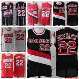 2019 rote raketen Vintage Herren Portland Clyde Drexler Trail Blazer Basketball Trikots Red # 22 Günstige Clyde Drexler Rockets Genähte Shirts