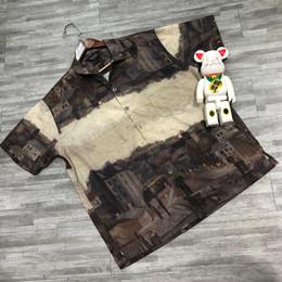 L'accoppiamento a olio online-19SS di lusso europeo camicia di stampa a olio retrò confortevole moda seta manica corta camicia coppie coppie designer t-shirt da uomo da uomo HFYYCS025