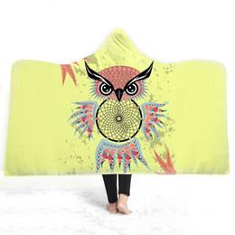 Coletor sonho coruja on-line-2019 Owl New inverno com capuz Blanket para Mulheres e Crianças Yellow Dream Catcher Magia casaco grosso quente e macio flanela cobertores