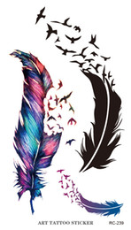 2019 maschera gatto dell'annata RC2239 Body Art Trasferimento dell'acqua Flash Tattoo fasullo Sticker tatuaggio temporaneo Sticker Blu Nero The Wind Blown Feathers Taty Tatoo