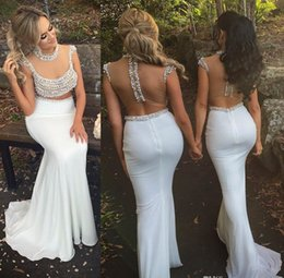 yellow backless bodycon dress Coupons - 2019 Sexy White Mermaid Satin Bodycon Dress Evening Dresses Fishtail Custom Made Pearls Sheer Bodice Two Pieces Gown Prom Dress