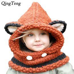 Hiver Fox Oreilles Enfants À La Main Beanie Chapeau Foulard Ensembles Solides Tricot Noël Fille Garçon Chapeau Foulards 1 ~ 10 Année ? partir de fabricateur