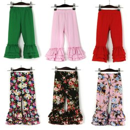floral cotton trousers Promo Codes - Girls Flared Pants 24 Design Little Floral Lace Trousers Kids Designer Clothes Girls Autumn Cotton Tights Baby Girls Solid Pagoda Pants 06