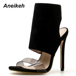 499ecb8059d Aneikeh 2019 Flock Ankle Boots New Flock Round Toe Open Zip Thin High Heels  Black Sexy Fashion Party Women s Sandals Size 35-40