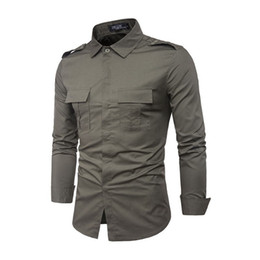 Taktisches uniformhemd online-Männer Hemd Taktische Uniform 2018 Herbst Britischen Stil Männer Casual Langarmhemd Männlichen Business Kleid Slim Fit