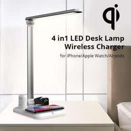Sem fio desligar a luz on-line-4 em 1 LED Carregador Sem Fio Lâmpada de Mesa para o iphone Xs / Apple Relógio / Airpods / Xr / 8plus Toque On / off Interruptor de Luz de Mesa de Chumbo