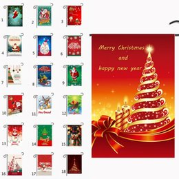 2019 ленточные баннеры Рождественский сад Флаг Санта-Клаус снеговика Баннер Снежинка зима Счастливый фестиваль бытовой Подвесной флаг 30 * 45 см 34 стилей