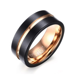 Круглый Вольфрам материал обручальное кольцо для мужчин мода ювелирные изделия размер 7-12 черный розовое золото цвет груза падения cheap tungsten material от Поставщики вольфрамовый материал
