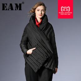 2019 cappotto nero pieghettato  EAM  2018 Autunno Inverno Donna Nero Grigio  Manica lunga collo 23710561313