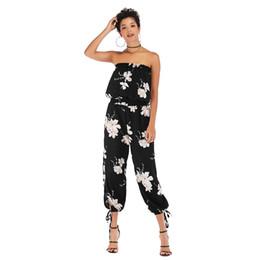 Tuta fiorita femminile online-Tuta in chiffon senza maniche con stampa floreale a fiori, estate, donna, jumpsuit