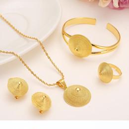 conjuntos sólidos de pulseiras de ouro Desconto 14k sólida chapéu colar Belas Gold Filled conjunto de jóias pingentes Anel Bangle Set eretriana Africano Abissínia antiga